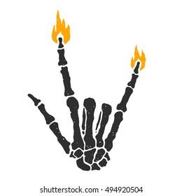 Dead skeleton hand burning rock sign isolated vector illustration