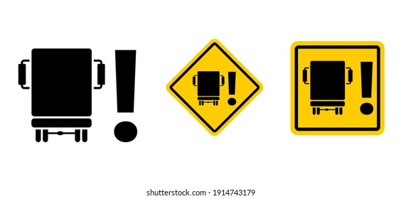 Dead spot in trucks Blind spot or dead corner zone and the overlooking of bikers Warning lorry rearview mirror Vector truck pictogram Blind angle area Right turn Traffic sign Rear view mirror lorries