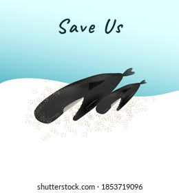 A dead stranded whale and baby on sand beach vector for climate change and global warming campaign