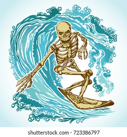Dead surfer skeleton on the Board in the blue waves