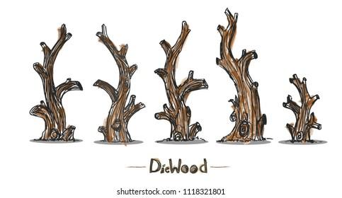Dead tree vector isolate set on white ground.