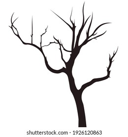 Dead tree vector. No life, damaged environment, bare tree, burning tree, tropical tree.