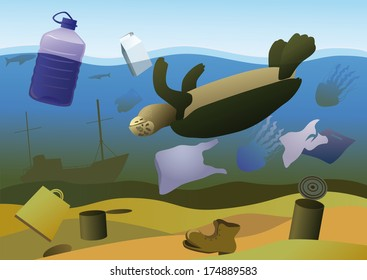Dead turtle, jellyfish and fish on a background of debris on the seabed.
