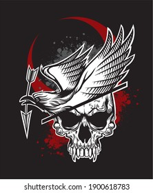 Dead viking skull with crow on head and arrow line vector drawing for t-shirt and dark black art background pattern red moon blood halloween