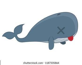 dead whale cartoon character illustration