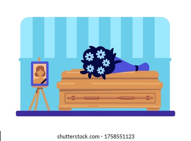 Dead woman coffin and photo flat color vector illustration. Funeral procession. Burial ceremony. Ritual service. Home room 2D cartoon interior with deceased female picture and flowers on background