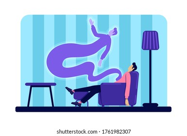 Dead young man and ghost flat color vector illustration. Guy passed away. Male body and soul at home. Afterlife concept. 2D cartoon character on apartment interior background