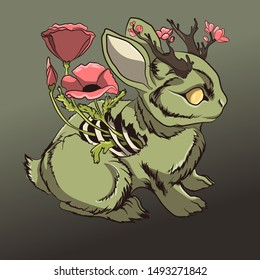 Dead zombie rabbit Halloween illustration. Undead rotten bunny animal meat with poppy flowers floral. Green eyeless corpse. Scary spooky animal monster with horror ribs and bones. Sinister cute vector