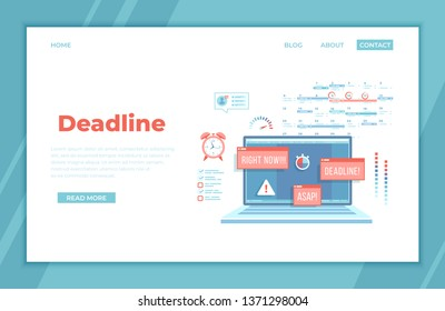 Deadline, Asap, Time limit and control. Laptop with pop-up Attention signs, notifications, messages on the screen, red alarm clock, planning calendar, stopwatch, exclamation mark, loading bar. landing