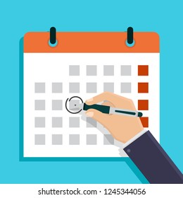 Deadline, businessman holds a pen and draws a circle on calendar, illustration flat design style