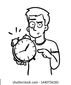 Deadline cartoon. Alarm clock doodle. Man pointing at clock showing that time is up. It's time to get a job done or wake up! Funny simple vector, black and white isolated hand-drawn illustration.