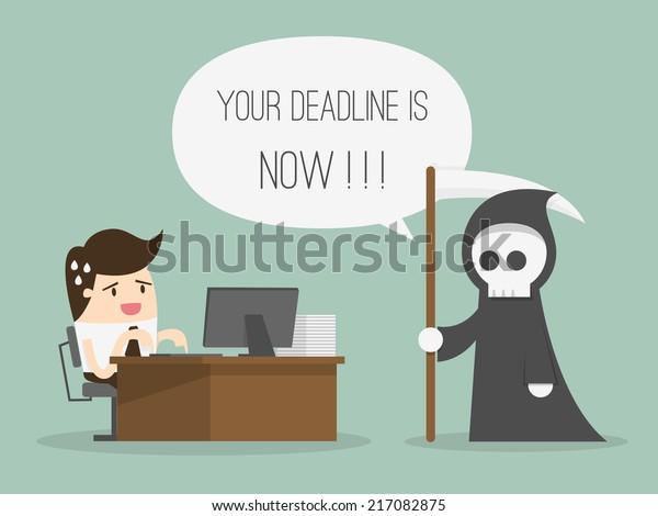 Deadline. Cartoon Vector Illustration
