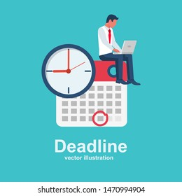 Deadline concept. Business metaphor. Business tasks scheduling on week. Vector design. Isolated on background. Time management. Planning deadline. Businessman with laptop sit on calendar with clock.