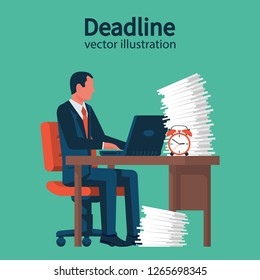 Deadline concept. Businessman at table with a large stack of papers. A lot of work on edge of term. Stop time concept. Business metaphor. Vector illustration flat design. Isolated on white background