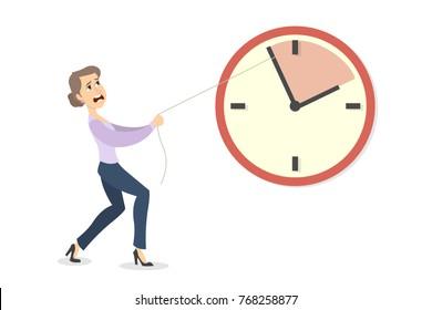 Deadline concept illustration. Businesswoman pushing the clock arrow to delay.