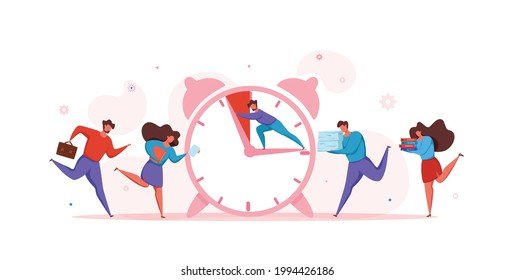 Deadline concept with office teamwork hurrying up in panic. Vector illustration of worker in stress and frustration ruining hard to finish task to deadline. Person push clock hand to prevent overtime.
