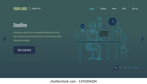 Deadline concept. Project time management, process control. Task management, avoidance of deadlines, business planning. Project plan schedule. Website template design, mobile app. Vector illustration.