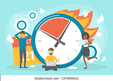 Deadline concept set. Idea of many work and few time. Employee in a hurry. Panic and stress in office. Business problems. Vector illustration in cartoon style