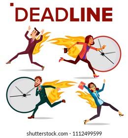 Deadline Concept Set Vector. Office People. Running Business Man, Woman. Workload Deadline Disasters. Mess And Deadline Tasks. Stress In Office. Overwork. Illustration