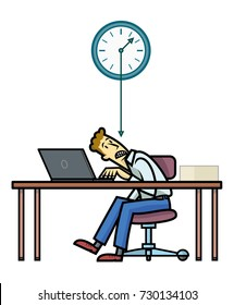Deadline. Employee or freelance working in a table with a laptop overwhelmed by deadlines represented by the needle of the clock over him.