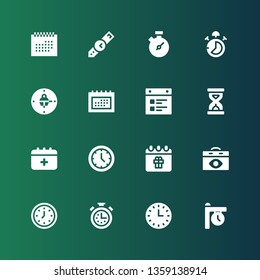 deadline icon set. Collection of 16 filled deadline icons included Clock, Wall clock, Stopwatch, Calendar, Schedule, Sandclock, Stop watch, Chronometer, Wristwatch