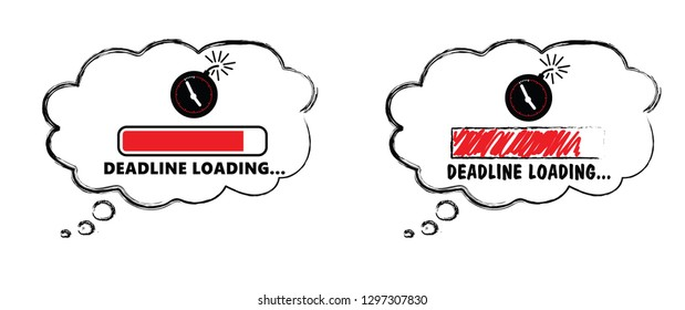 Deadline loading bar Deadline loadingbar Vector icon icons signs sign symbol fun funny work worker speed Fast time concept management service red Keep calm Deadline day party loading progress bar