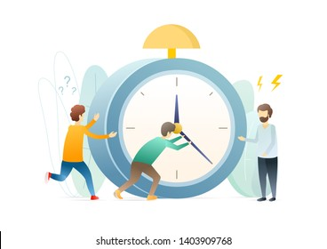 Deadline metaphor flat vector illustration. Time running concept. Men setting clock arrows isolated cartoon characters. Timeliness, time management. Worker nervous about urgent task.