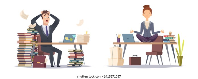 Deadline panicked businessman and organized business woman. Two type of businesspeople vector concept. Illustration of business worker stress panicking and relaxation yoga