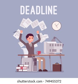 Deadline in paper work. Young male office employee unhappy with overload, throwing documents failed to complete job in time. Vector flat style cartoon illustration isolated on blue background