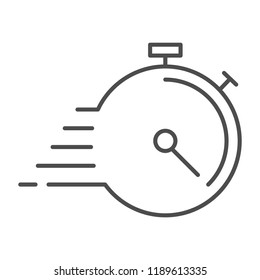 Deadline thin line icon. Timer with lines vector illustration isolated on white. Stopwatch outline style design, designed for web and app. Eps 10