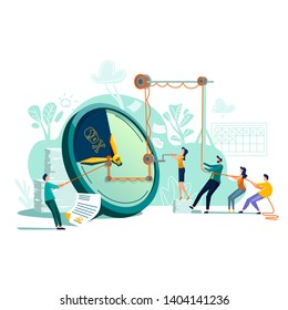 Deadline time management business concept vector. Large watches and hurried workers pulling clock hand using rope pulley or block system, trying to stop or slow down time, teamwork flat illustration