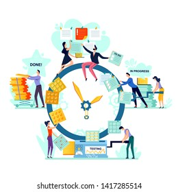 Deadline and time management business concept vector. Large watches and workers with task cards, process of generating idea, turning it into task to do, through progress and testing to done, teamwork
