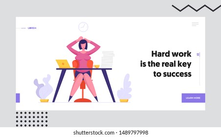 Deadline and Time Management Website Landing Page. Business Woman Holding Head Sitting at Workplace with Documents Heap Loaded with Hard Work in Office Web Page Banner Cartoon Flat Vector Illustration