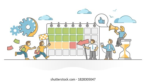 Deadline time pressure hurry as tight project finish due date outline concept. Plan target reaching with urgency growth vector illustration. Motivation in finish and work control and monitoring scene.