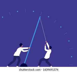 Deadline urgency. Man pulling clock arrow, hurry up. Team power effort and economy growth business vector concept. Deadline clock, time hurry illustration