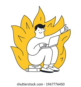 Deadline, work on fire mode. A cute cartoon man is working with a computer and a fire is burning behind him. The problem, hard work, close deadline. Thin line vector illustration on white.