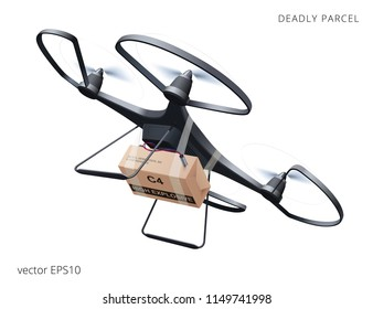 Deadly delivery. Black drone armed with C4 explosive. Unmanned multirotor device carrying a bomb in the cardboard package. Quadcopter swoops down to make an assassination attempt. Anti-terror warning.