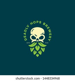 Deadly hops brewery logo design template with bearded skull. Vector illustration.