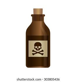 Deadly liquid poison bottle with crossbones label vector illustration