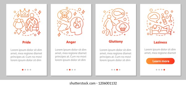 Deadly sins onboarding mobile app page screen with linear concepts. Pride, laziness, gluttony, anger steps graphic instructions. UX, UI, GUI vector template with illustrations