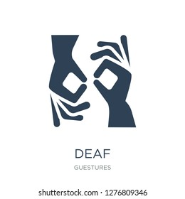 deaf icon vector on white background, deaf trendy filled icons from Guestures collection, deaf vector illustration