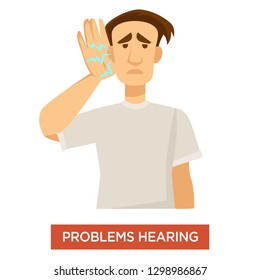 Deaf man hearing problems ear dysfunction treatment and medicine vector guy with poor auditory function disease or illness human body disorder discomfort and healthcare isolated male character.
