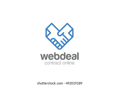 Deal Contract Documents Handshake Logo abstract vector template. Docs Hands Shaking Heart shape Logotype concept icon linear style.
