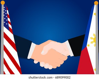Deal Cooperation partnership Philippines and USA America with the businessman handshake symbol vector illustration