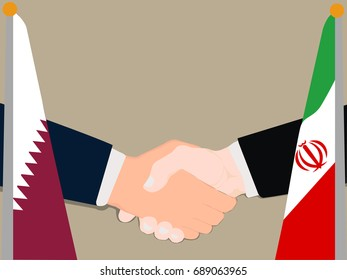 Deal Cooperation partnership Qatar and Iran with the businessman handshake symbol vector illustration