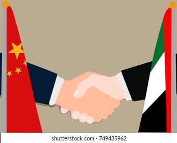 Deal Cooperation partnership and renegotiation China and United Arab Emirates (UAE) with the businessman handshake symbol vector illustration