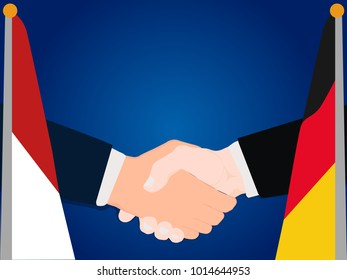 Deal Cooperation partnership and renegotiation Germany and Indonesia with the businessman handshake symbol vector illustration