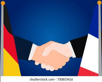 Deal Cooperation partnership and renegotiation Germany and France with the businessman handshake symbol vector illustration