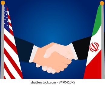 Deal Cooperation partnership and renegotiation United States of America (USA) and Iran with the businessman handshake symbol vector illustration