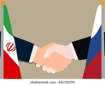 Deal Cooperation partnership Russia and Iran with the businessman handshake symbol vector illustration
